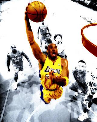 Magic Johnson Digital Art - Kobe Bryant Took Flight by Brian Reaves