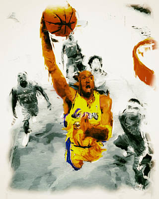 Magic Johnson Painting - Kobe Took Flight 3a by Brian Reaves