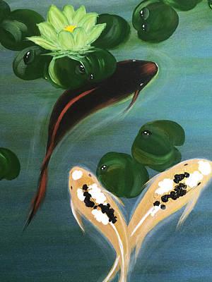 Koi Fish Feng Shui Print by Judith Yabut