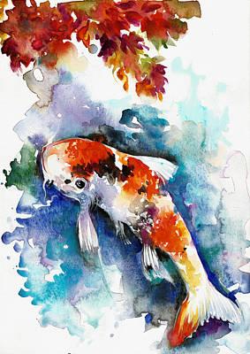 Het Painting - Koi Fish In The Lake by Tiberiu Soos