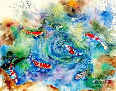 Splashy Art Painting - Koi Joy by Cynthia Pride