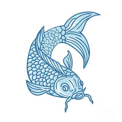 Koi Digital Art - Koi Nishikigoi Carp Fish Diving Down Drawing by Aloysius Patrimonio