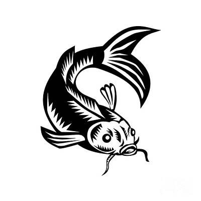 Koi Nishikigoi Carp Fish Woodcut Print by Aloysius Patrimonio