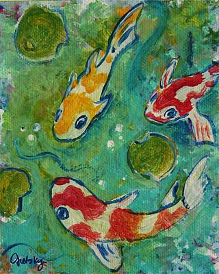 Fish Painting - Koi Pond  by Paintings by Gretzky