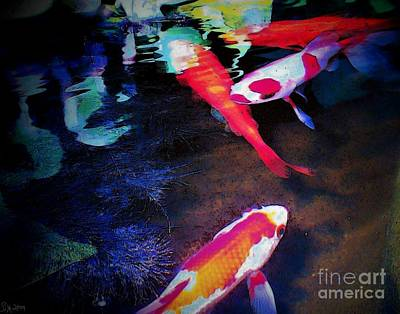 Koi Under Glass Print by Sally Siko
