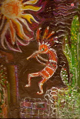 Good Luck Mixed Media - Kokopelli And The Sunny Moon by Anne-Elizabeth Whiteway