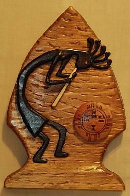 Intarsia Sculpture - Kokopelli In Arrowhead by Russell Ellingsworth