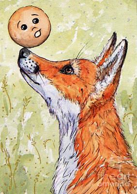 Red Foxes Drawing - Kolobok And The Fox by Svetlana Ledneva-Schukina