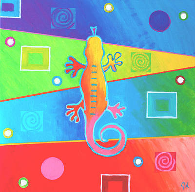 Salamanders Painting - Komodo Color by Jeremy Aiyadurai