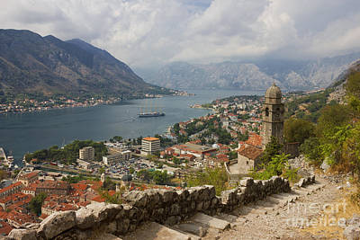 Kotor Panoramic View From The Fortress Print by Kiril Stanchev