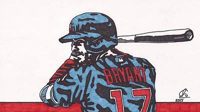Chicago Baseball Drawing - Kris Bryant 1 by Jeremiah Colley