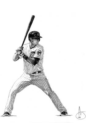 Chicago Baseball Drawing - Kris Bryant by Joshua Sooter