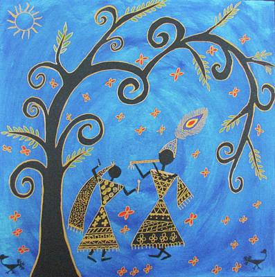 Warli Painting - Krishna And Radha by Aditi Maaheshwar