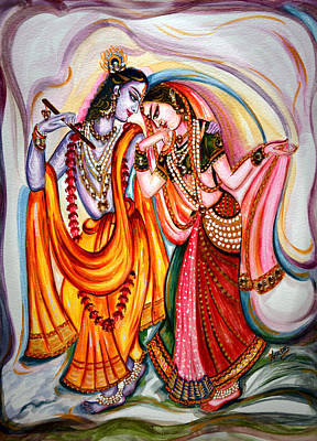 Red Painting - Krishna And Radha by Harsh Malik