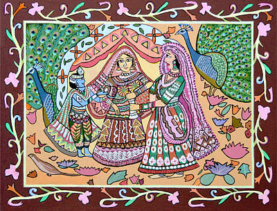 Madhubani Painting - Krishna And Yashoda by Thecla Correya
