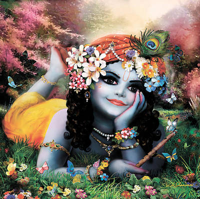 Krishna-sky Boy Print by Lila Shravani