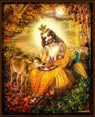 Religious Mixed Media - Krishna With The Calf by Ananda Vdovic