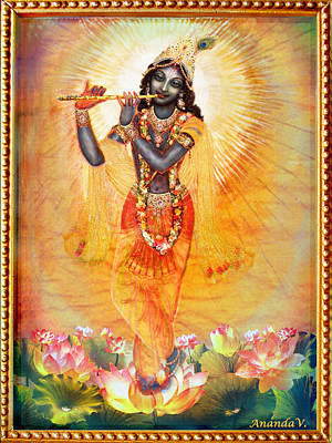 Krishna With The Flute Print by Ananda Vdovic