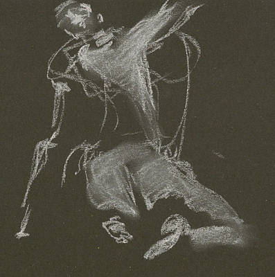Kroki-2015-04-11-figure-drawing-white-chalk-marica-ohlsson-marica-ohlsson Print by Marica Ohlsson