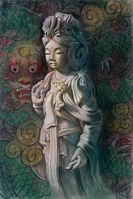 Kuan Yin Dragon Print by Sue Halstenberg