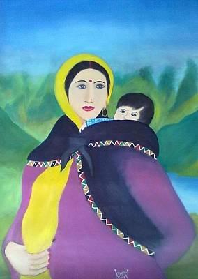 Pahari Painting - Kulluvi Lady With Child by Sumit  Chauhan