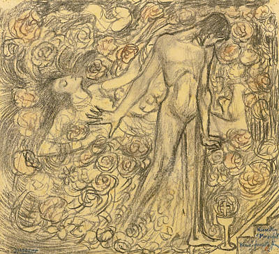 Parsifal Drawing - Kundry And Parsifal by Jan Toorop