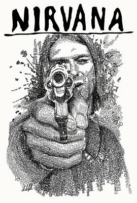Icon Drawing - Kurt Cobain by Michael Volpicelli