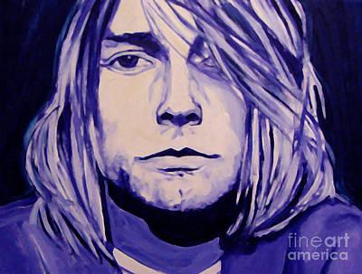 Rocks Love Too Painting - Kurt Cobain Nirvana In Purple by Margaret Juul