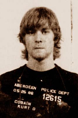Jail Painting - Kurt Cobain Painting Mug Shot Vertical Black And Sepia by Tony Rubino