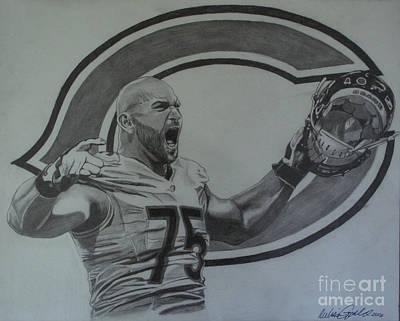Soldier Field Drawing - Kyle Long Portrait by Melissa Goodrich