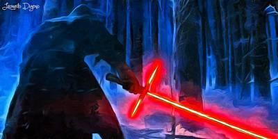 Swords Painting - Kylo Ren In The Forest by Leonardo Digenio