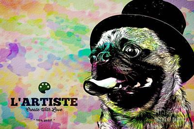 Dog Artist Digital Art - L Artiste Pug by Edward Fielding