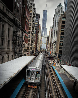 Fire Escape Photograph - L Train Station In Chicago by James Udall