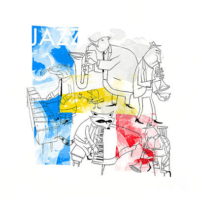 Otter Digital Art - La Bande Du Jazz by Sean Hagan