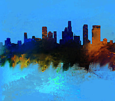 Los Angeles Skyline Painting - Los Angeles Blue And Gold Skyline by Enki Art