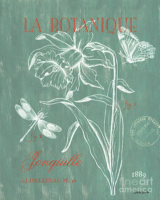 Florals Drawing - La Botanique Aqua by Debbie DeWitt