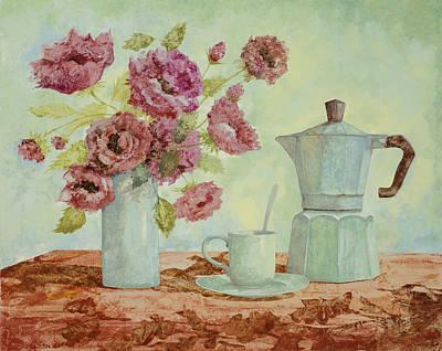 Still-life Painting - La Caffettiera E I Fiori Amaranto by Guido Borelli
