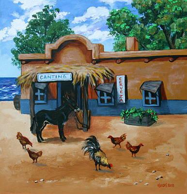 Burro Painting - La Cantina by Karon Melillo DeVega