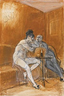 Drawing - La Chanson Du Cherubin by Felicien Rops