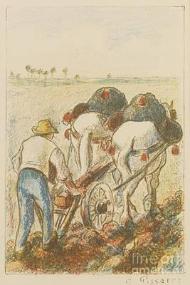 La Charrue Print by Camille Pissarro