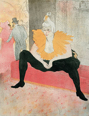Clown Drawing - La Clownesse Assise by Henri de Toulouse-Lautrec