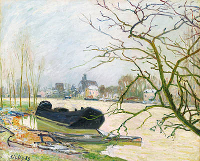 Alfred Sisley Painting - La Crue Du Loing A Moret by Alfred Sisley