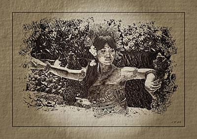 Traditional Folk Dance Digital Art - Dance,indonesian Women by JeanFrancois Gil