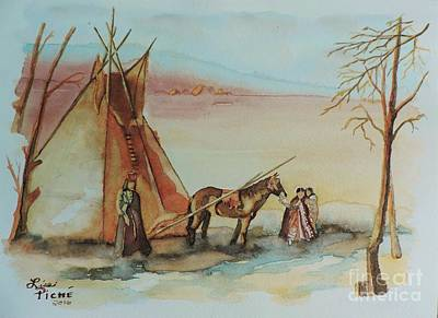 First Tribes Painting - First Nations Family  by Lise PICHE