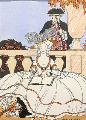 Slapstick Drawing - La Guirlande by Georges Barbier