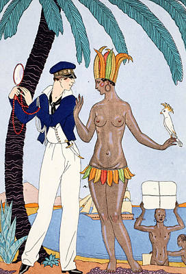 Parakeet Drawing - La Jolie Insulaire by Georges Barbier