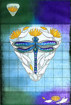 La Libellule Bleue- The Blue Dragonfly Print by Kristian Johnson Michiels