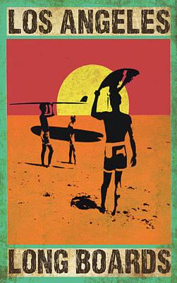 La Long Boards Print by Greg Sharpe