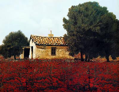 Painting - La Masseria Tra I Papaveri by Guido Borelli