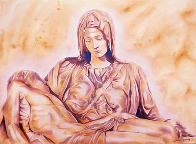 Mercy Drawing - La Pieta by Jose Espinoza